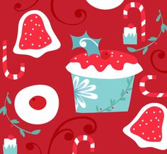 (This month it's the Salli Swindell Snowy Seasonal Showcase Show! Nate's been a little busy with their They Draw and Cook Holiday Recipe. Illustrations, Illustration Art, Red Christmas, Holiday, Food Patterns, Food Art, December, Aqua, Kids Rugs