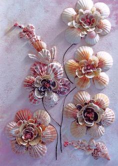 Sea Shells Photograph - Shell Flowers No 1 by Karin Dawn Kelshall- Best Seashell Ornaments, Seashell Art, Seashell Crafts, Crafts With Seashells, Sea Crafts, Diy And Crafts, Arts And Crafts, Glue Crafts, Seashell Projects