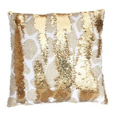 Thro by Marlo Lorenz Georgina Giraffe Gold Polyester Reversible Sequin... ($45) ❤ liked on Polyvore featuring home, home decor, throw pillows, feather filled throw pillows, sequin throw pillow, gold accent pillows, gold throw pillows and gold sequin throw pillow