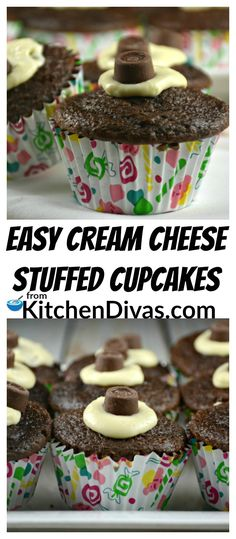 These Easy Cream Cheese Stuffed Cupcakes are such a simple dessert to make! Yummy, every time! My favorite part of this cupcake recipe is the ribbon of cream cheese that runs through each. Not too much cream cheese. Just the right amount! I love the hint of the sweet cream cheese mixture in every chocolaty bite!