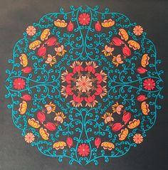 Ingekleurde kleurplaat met #stabilo uit #mandalamagie. Door A-typist.