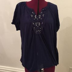 French Laundry Navy Blue Top Navy blue top with silver embellishments on front.  In excellent condition. French Laundry Tops Blouses