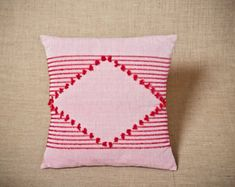Rhombus Red - Handwoven cushion cover