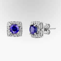Blue sapphire and diamond stud earrings #fifthbond