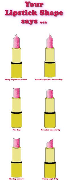Have you ever examined the shape of your lipstick? The way you apply your lipstick can give you clues about your personality, depending on the way it is worn down. Reach into your purse and check to see which lipstick shapes best fits you. Below is a list of personality traits related to six lipstick shapes.