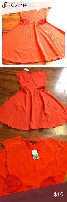 FINAL! F21 🎃 Red/Orange Skater dress! Lace cut out detail! Forever 21 Dresses Mini