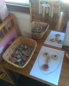 making faces with painted rocks, image via Leesa's House Family Day Care www.fac… making faces with painted rocks, image via Leesa's House Family Day Care www. Reggio Classroom, Reggio Inspired Classrooms, Preschool Classroom Setup, Daycare Setup, Daycare Forms, Toddler Classroom, Classroom Ideas, Family Day Care, Making Faces