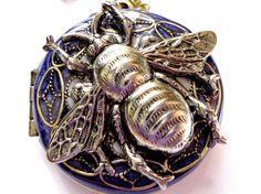Vintage Bee Locket, Sapphire, Pearl White Filigree, Metal Necklace
