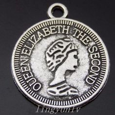 80 Pieces Silver Alloy Coin Charms Pendants 19x16x1mm Jewelry Findings 50055