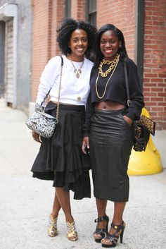 Cropped sweaters, black skirts