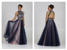 Navy dress Navy prom dress Navy 2 piece ballgowns dresses navy dresses prom dress red carpet dresses