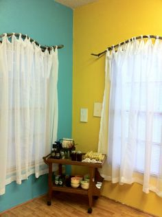 DIY branch curtain rods! Cheap, easy and look great too-why wouldn't those rounded shower curtain rods work this way too-just mount on the wall!!!