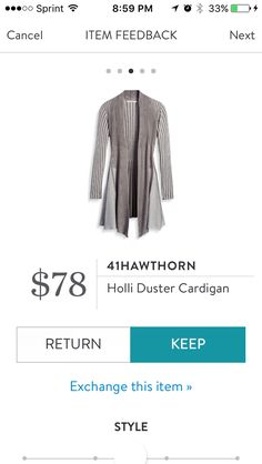 Holli Duster Cardigan by 41Hawthorne. LOve this long duster length sweater. It is thin sweater material and flows really nice. The top part is fitted, bottom is flowy. Great layering piece for fall. KEPT. Price $78, with keep all discount $58.50