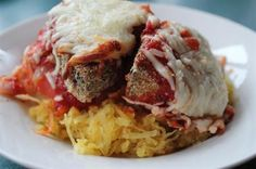 21 Healthy Spaghetti Squash Recipes: Eggplant Parmesan with Spaghetti Squash, tomato, bread crumbs