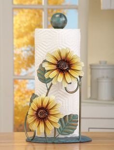 Home decor Collections Etc Metal Sunflower Paper Towel Holder, Yellow Image 2 of 3 Bed Quilt – An Im Sunflower Themed Kitchen, Sunflower Room, Sunflower Kitchen Decor, Sunflower Decorations, Sunflower Bathroom, Sunflower House, Sunflower Print, Painted Paper, Hand Painted
