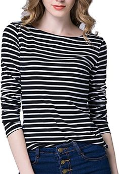 Tulucky Women s Casual Long Sleeve Shirts Stripe Tees Round Neck Tank Tops  at Amazon Women s Clothing store  94fed5fee09e