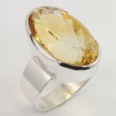Chunky Ring Size US 8.25 Genuine CITRINE Gemstone 925 Sterling Silver Wholesale #SunriseJewellers #Fashion