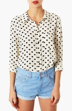 This is one of my favourite items in my wardrobe.  'Day shirt that goes with EVERYTHING. #heartprint #Topshop'