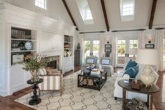 "The HGTV Dream Home 2015 great room is a light, open space with a classic neutral color palette. ""The great room structure is that new modern way of living, which would not have happened in New England,"" explains interior designer Linda Woodrum. ""There would have been small, dark, boxy rooms, but we all know that we are living in this new way where there is this wonderful open space."""