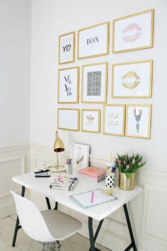 The French Bedroom Company Blog | How To: Make Your Home Insta-Worthy. Get your home instagram ready with our top tips and ideas. We love this gold frame print gallery wall in a home office with a small white desk and chair, with gold accessories and stationary