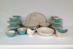 Vintage 53 Piece Blue Lace Dinnerware Set by Taylor Smith & Taylor, 1950s Aqua and Platinum China for 12 Place Settings