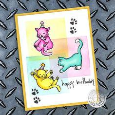 Birthday Greetings, Birthday Cards, Happy Birthday, Cat Birthday, Glitter Crafts, Birthday Images, The Balloon, Hero Arts, Mail Art