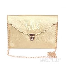 Monogrammed Scalloped Luxe Cross Body Clutch   MARLEYLILLY