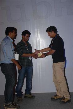 ClubHack co-founder Varun Hirve felicitating Aditya Gupta & Subho Halder