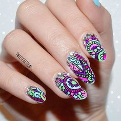 Ornate nail stamping by @sweetfactionails!