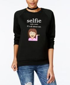 Freeze 24-7 Juniors' Selfie Emoji Graphic Sweatshirt - Black XS