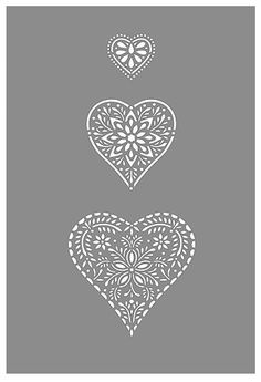 Folk Hearts Stencil Stencils, Stencil Templates, Stencil Patterns, Stencil Designs, Embroidery Patterns, Heart Stencil, Bird Stencil, Damask Stencil, Faux Painting