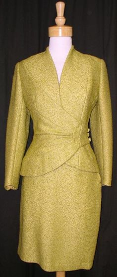 1960 | Chartreuse Wool Boucle Suit with Strait Skirt and Asymmetrical Jacket by Lilli Ann