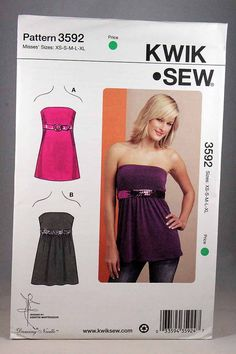 Kwik Sew 3592, Misses' Tops Pattern, Empire Waist and Strapless Tops, Misses Sewing Pattern, Size XS, S, M, L, XL, New and Unopened by Allyssecondattic on Etsy