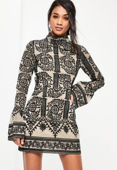 Missguided - Black Lace High Neck Frill Sleeve Shift Dress