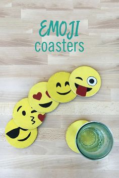 Add a little fun to plain coasters with this DIY emoji version. This craft is easy to make, and will be an adorable addition to your home decor. All you need are some coasters and acrylic paint to create these expressive coasters. Activities For Girls, Craft Activities, Crafts For Kids, Arts And Crafts, Make Emoji, Emoji Craft, Creative Crafts, Diy Crafts, Ninjago Party