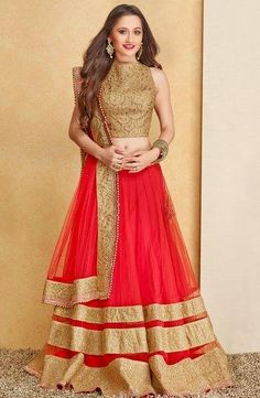 Sanjeeda Sheikh wears a red and gold lehenga. India Fashion, Look Fashion, Ethnic Fashion, Indian Attire, Indian Ethnic Wear, Indian Style, Gold Lehenga, Lehenga Choli, Net Lehenga