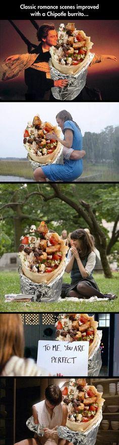 Classic romance scenes improved with a Chipotle burrito