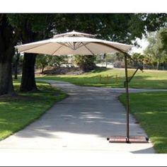 10' Outdoor Patio 2-Tier Off-Set Crank and Tilt Umbrella - Beige