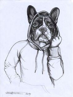 French Bulldog ,Frenchie , The dog painter , hoodie