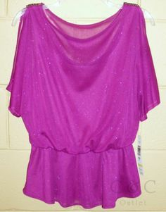 Onyx Nite NEW Purple Glitter Blouse Lined Cold Shoulder Blouson Small Cocktail