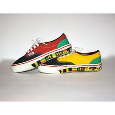 VANS RASTA Rare Vintage Sneakers Size Womens 6.5 AUTHENTIC - ($300) ❤ liked on Polyvore featuring shoes, multi color shoes, vans shoes, colorful shoes, african print shoes and african shoes