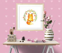 """Flower the Fox is one of the Forest Friends nursery art set, modern wall art, nursery decor, custom add a name print digital instant download, 16"""" x 16"""" 40 x 40cm large poster A3 size  Ready to Print Art  Please note, this listing is for a DIGITAL FILE, no print will be posted to you.   This beautiful watercolour image of a young fox surrounded by colourful flowers makes a lovely gift to welcome a new baby or as nursery wall art.  by Latchfarmstudios"""
