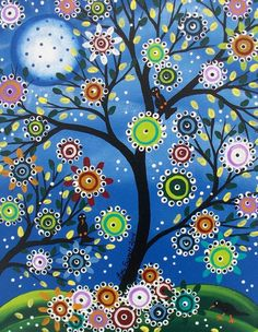 Original Custom Painting Folk Art Black Birds Tree Art Whimsical Tree of Life . sold, link goes nowhere but love the concept Tree Of Life Art, Tree Art, Decoupage Vintage, Arte Popular, Mexican Folk Art, Dot Painting, Painting Tips, Watercolor Painting, Whimsical Art