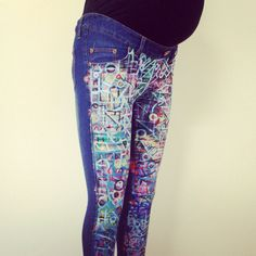 Hand painted EGG jeans