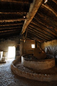 Antigua Almazara Murcia, Spain Antique olive pressing stone to produce olive oil.