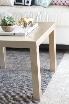 DIY Gold Diagonal Coffee Table - IKEA Hack! | KristiMurphy.com | DIY Ideas