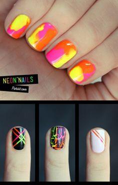 Neon Nail Art- love the crackel