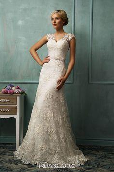 Lace Cap Sleeve V-neck Illusion Back A-line Wedding Dress