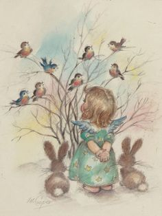 Mainstream Illustration, M. Angels and Birds on a Tree,The Norcross Greeting Card Collection. Pencil and wa. Christmas Bird, Christmas Images, Christmas Angels, Merry Christmas, Vintage Greeting Cards, Vintage Christmas Cards, Vintage Postcards, Illustration Mignonne, Illustration Noel
