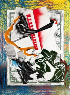 Frank Stella - Going Aboard (Wave II Series); Medium: screenprint, lithograph and linocut in colors with hand-coloring and collage on T.H. Saunders...